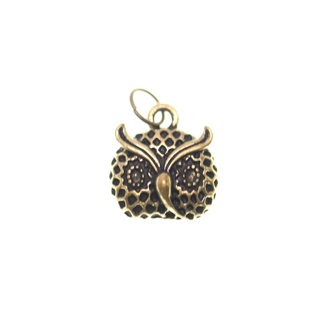 15mm, 15x17mm, 7mm, Antique Gold, Charm, Charm Bead, Charm Beads, Gold, Metal, Owl Face