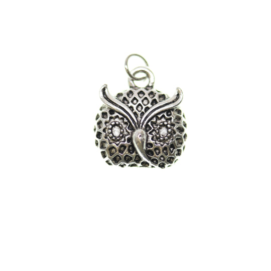 Antique Silver Plated Owl Face One Sided 15X17mm  - 2pcsCharm by Bead Gallery