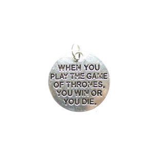 Antique Silver Plated Game Of Thrones One Sided 19mm  - 2pcsCharm by Bead Gallery