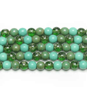 Aqua Mix 6mm Round Czech Glass Beads