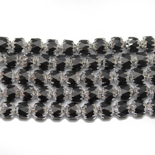 Black 6mm Cathedral with Silver Luster Czech Glass Beads