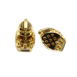 Casco espartano grande de metal dorado en tono dorado, 12 x 20 mm, cuentas de Halcraft Collection