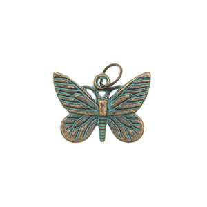 16mm, 16x22mm, 22mm, Blue, Butterfly, Charm, Charm Bead, Charm Beads, Metal, Patina, Turquoise