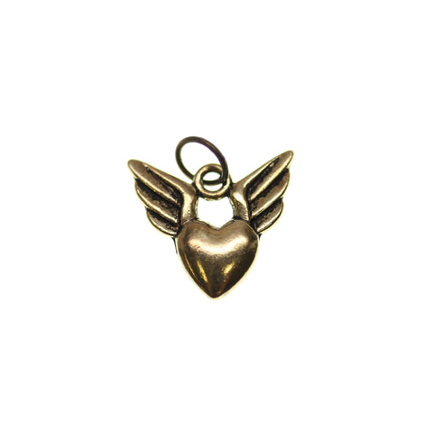 16mm, Antique Gold, Charm, Charm Bead, Charm Beads, Gold, Heart, Metal, Wing