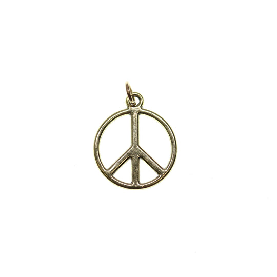 17mm, Antique Gold, Charm, Charm Bead, Charm Beads, Gold, Metal, Peace Symbol