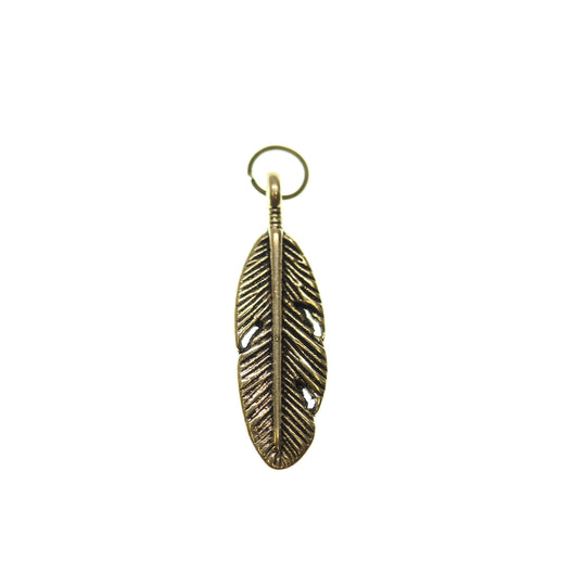 Pluma de tono dorado antiguo 9X30mm - 2pcsCharm por Bead Gallery