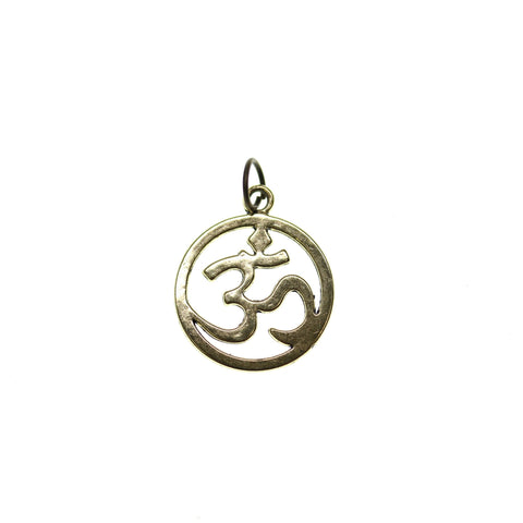 19mm, Antique Gold, Aum Symbol, Charm, Charm Bead, Charm Beads, Gold, Metal