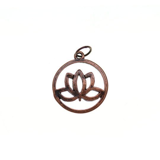 Antique Copper Tone Lotus Flower 20mm  - 2pcsCharm by Bead Gallery