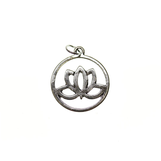 Antique Silver Plated Lotus Flower 20mm  - 2pcsCharm by Halcraft Collection
