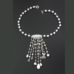 White Agate, Grey Onyx, & Botswana Agate with Lined Textured Oval NecklaceJewelry by Halcraft Collection