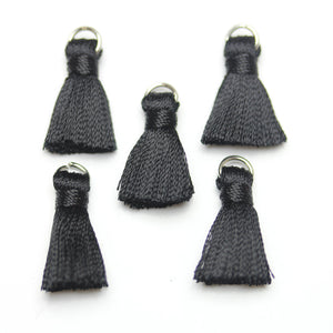 13mm, 13x20mm, 20mm, Black, Charm, Cotton, Metal, Tassel, Tassels