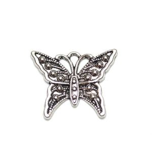 Charms, Charm, Charm Beads, Charm Bead, Plated, Antique, Butterfly, Butterfly Charm, Butterfly Charms, Silver, Antique Silver, Metal, 20x24mm, 20mm, 24mm