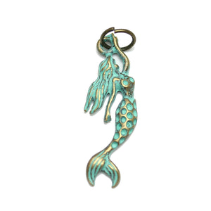 Patina Plated Large Mermaid Charm 9X27mm  - 2pcsCharm by Bead Gallery