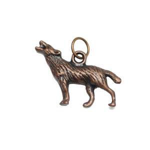 Charms, Charm, Charm Beads, Charm Bead, Copper Tone, Antique, Wolf, Wolf Charm, Wolf Charms, Antique Copper, Copper, Metal, 19x25mm, 19mm, 25mm