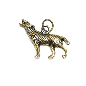 Charms, Charm, Charm Beads, Charm Bead, Gold Tone, Antique, Wolf, Wolf Charm, Wolf Charms, Antique Gold, Gold, Metal, 19x25mm, 19mm, 25mm