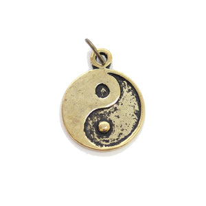 Abalorio Yin Yang en tono dorado antiguo 16 mm - 2 piezasCharm by Bead Gallery