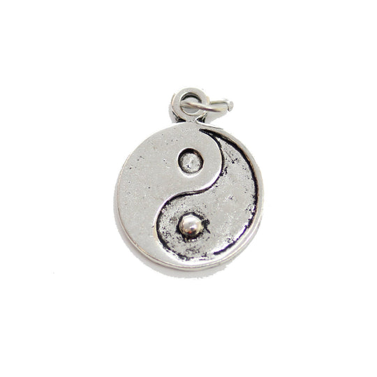 Antique Silver Plated Yin Yang Charm 16mm  - 2pcsCharm by Bead Gallery