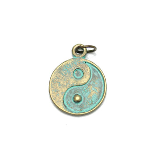 Charms, Charm, Charm Beads, Charm Bead, Plated, Patina Plated, Yin Yang, Yin Yang Charm, Yin Yang Charms, Patina, Turquoise, Blue, Metal, 16mm