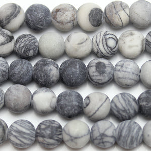 Bead, Beads, Semi-precious, Semiprecious, Stone Beads, Stone Bead, Round, Round Beads, Round Bead, Black, White, Grey, 8mm
