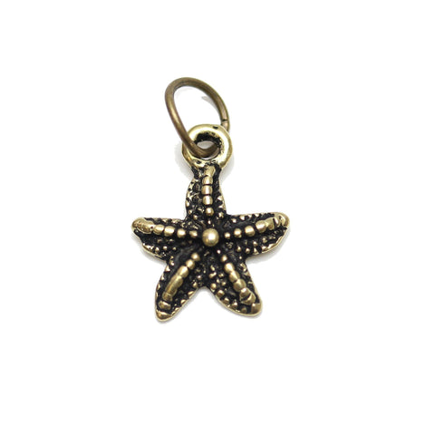 Charms, Charm, Charm Beads, Charm Bead, Gold Tone, Antique, Starfish, Starfish Charm, Starfish Charms, Antique Gold, Gold, Metal, 11mm
