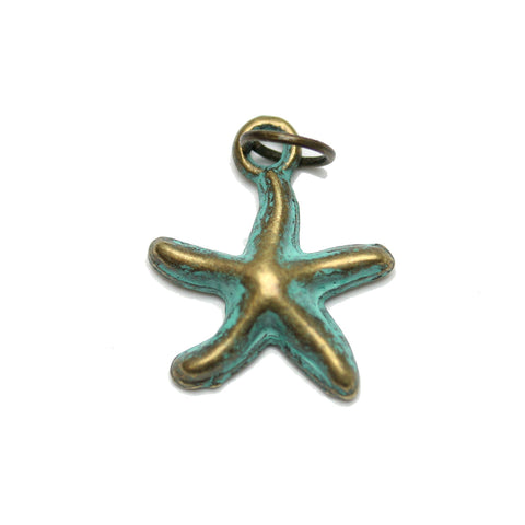 Charms, Charm, Charm Beads, Charm Bead, Plated, Patina Plated, Starfish, Starfish Charm, Starfish Charms, Patina, Turquoise, Blue, Metal, 16mm