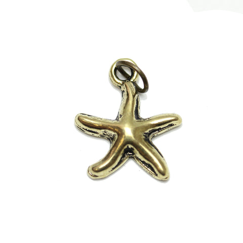 Charms, Charm, Charm Beads, Charm Bead, Gold Tone, Antique, Starfish, Starfish Charm, Starfish Charms, Antique Gold, Gold, Metal, 16mm