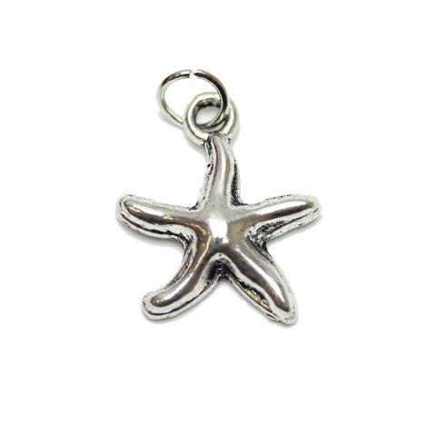 Charms, Charm, Charm Beads, Charm Bead, Plated, Antique, Starfish, Starfish Charm, Starfish Charms, Silver, Antique SIlver, Metal, 16mm