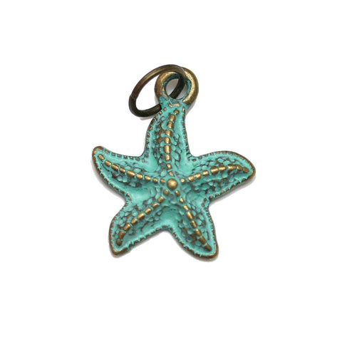 Charms, Charm, Charm Beads, Charm Bead, Plated, Patina Plated, Starfish, Starfish Charm, Starfish Charms, Patina, Turquoise, Blue, Metal, 15mm
