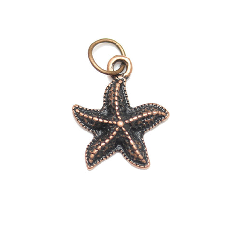 Charms, Charm, Charm Beads, Charm Bead, Copper Tone, Antique, Starfish, Starfish Charm, Starfish Charms, Antique Copper, Copper, Metal, 15mm