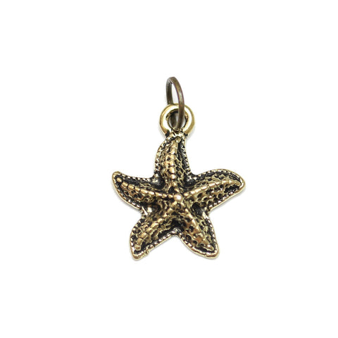 Charms, Charm, Charm Beads, Charm Bead, Gold Tone, Antique, Starfish, Starfish Charm, Starfish Charms, Antique Gold, Gold, Metal, 15mm