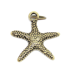 Charm, Charms, Antique Charm, Plated Charm, Charm Bead, Charm Beads, Metal, Metal Charm, Antique Gold, Gold, Antique Gold Charm, Gold Charm, Starfish, Starfish Charm, Starfish Charms, 18mm