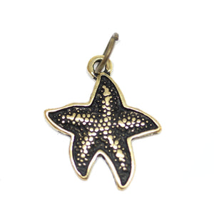 Charm, Charms, Antique Charm, Plated Charm, Charm Bead, Charm Beads, Metal, Metal Charm, Antique Gold, Gold, Antique Gold Charm, Gold Charm, Starfish, Starfish Charm, Starfish Charms, 15mm