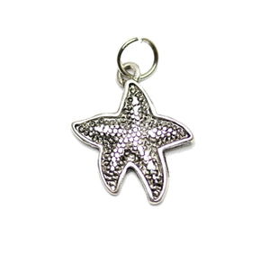 Charm, Charms, Antique Charm, Plated Charm, Charm Bead, Charm Beads, Metal, Metal Charm, Antique Silver, Silver, Antique Silver Charm, Silver Charm, Starfish, Starfish Charm, Starfish Charms, 15mm