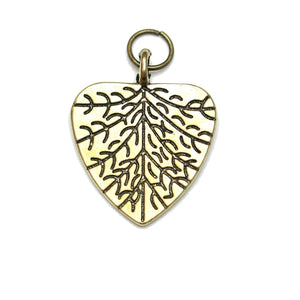 Charms, Charm, Charm Beads, Charm Bead, Gold Tone, Antique, Leaf Heart, Leaf Heart Charm, Leaf Heart Charms, Antique Gold, Gold, Metal, 19x23mm, 19mm, 23mm