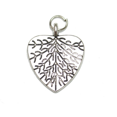 Charms, Charm, Charm Beads, Charm Bead, Plated, Antique, Leaf Heart, Leaf Heart Charm, Leaf Heart Charms, Silver, Antique SIlver, Metal, 19x23mm, 19mm, 23mm