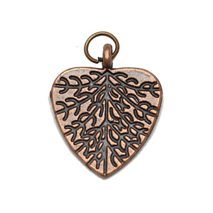 Antique Copper Tone Leaf Heart Charm 19X23mm  - 2pcsCharm by Bead Gallery