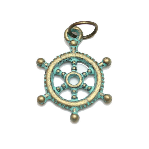 Charms, Charm, Charm Beads, Charm Bead, Plated, Patina Plated, Ship Wheel, Ship Wheel Charm, Ship Wheel Charms, Patina, Turquoise, Blue, Metal, 17mm