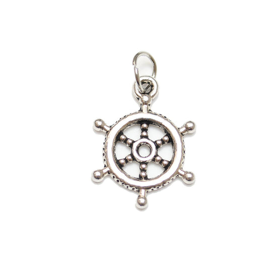 Antique Silver Plated Ship Wheel Charm 17mm  - 2pcsCharm by Halcraft Collection