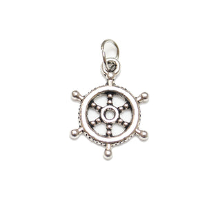 Antique Silver Plated Ship Wheel Charm 17mm  - 2pcsCharm by Bead Gallery