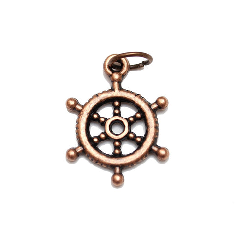Charms, Charm, Charm Beads, Charm Bead, Copper Tone, Antique, Ship Wheel, Ship Wheel Charm, Ship Wheel Charms, Antique Copper, Copper, Metal, 17mm