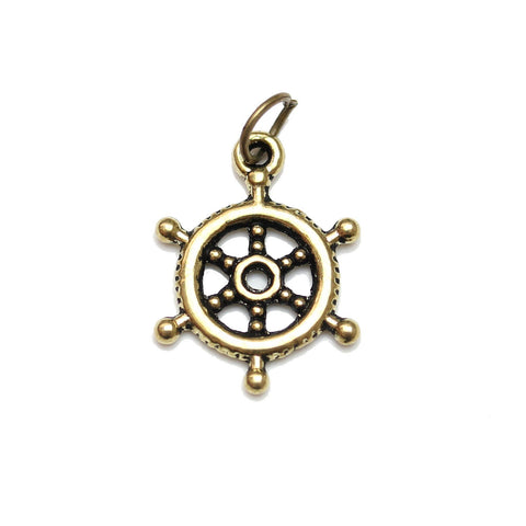 Charms, Charm, Charm Beads, Charm Bead, Gold Tone, Antique, Ship Wheel, Ship Wheel Charm, Ship Wheel Charms, Antique Gold, Gold, Metal, 17mm
