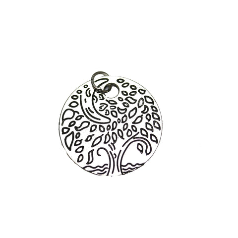 Charms, Charm, Charm Beads, Charm Bead, Plated, Antique, Silver, Antique Silver, Metal, Round Charm, Disc Charm, Round Disc Charm, Round, Disc, 24mm, Tree Charm