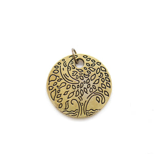 Antique Gold Tone Tree Disc 24mm Charm - 2pcsCharm by Bead Gallery