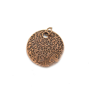 Antique Copper Tone Tree Disc 24mm Charm - 2pcsCharm by Bead Gallery
