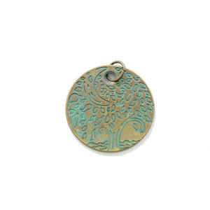Patina Plated Tree Disc 24mm Charm - 2pcsCharm by Bead Gallery