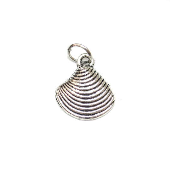Charms, Charm, Charm Beads, Charm Bead, Plated, Antique, Shell, Shell Charm, Shell Charms, Silver, Antique SIlver, Metal, 13mm