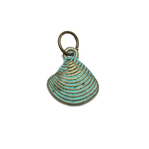 Charms, Charm, Charm Beads, Charm Bead, Plated, Patina Plated, Shell, Shell Charm, Shell Charms, Patina, Turquoise, Blue, Metal, 13mm