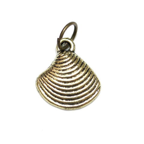 Charms, Charm, Charm Beads, Charm Bead, Gold Tone, Antique, Shell, Shell Charm, Shell Charms, Antique Gold, Gold, Metal, 13mm