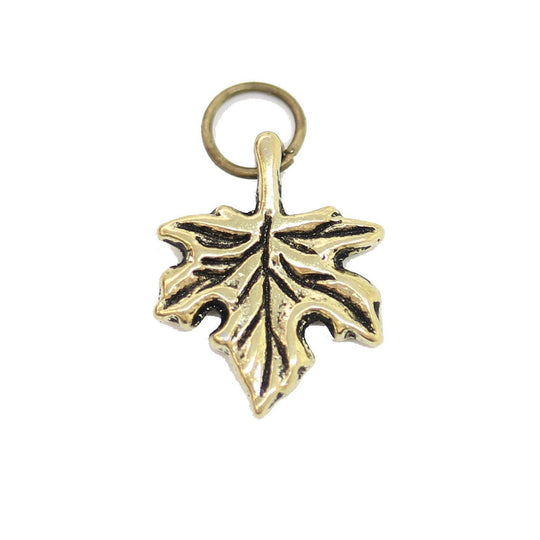 Antique Gold Tone Leaf Charm 13X17mm  - 2pcsCharm by Halcraft Collection