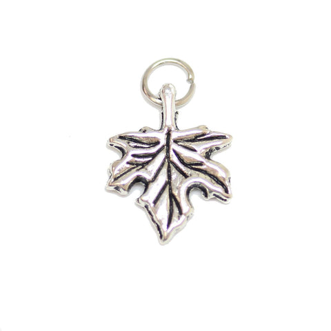 Charms, Charm, Charm Beads, Charm Bead, Plated, Antique, Leaf, Leaf Charm, Leaf Charms, Silver, Antique SIlver, Metal, 13x17mm, 13mm, 17mm